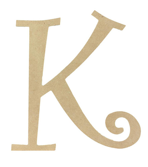 Wood letter, natural, mdf, letter K, can be painted, put in wreaths, hung on christmas trees, walls, curly letter