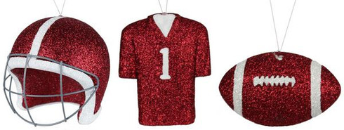 3 Assorted Football/Helmet/Jersey Ornament Can be used on Wreaths, Christmas trees, mailbox swags Crimson/White