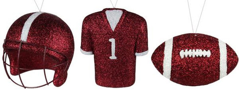 3 Assorted Football/Helmet/Jersey Ornament Can be used on Wreaths, Christmas trees, mailbox swags Maroon/White