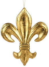 """10""""L Fleur De Lis W/Hanger Gold W/Gold Leaf"""