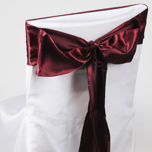 Burgundy satin chair sashes for making bows on chairs. Can be used for weddings, birthday parties, events, or just for decorating. These sashes are 6 inches x 106 inches inch and come 10 to a pack.