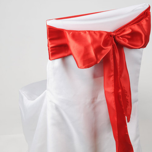 Red satin chair sashes for making bows on chairs. Can be used for weddings, birthday parties, events, or just for decorating. These sashes are 6 inches x 106 inches inch and come 10 to a pack.