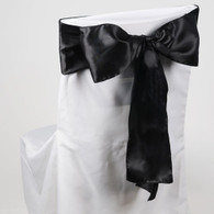 Black satin chair sashes for making bows on chairs. Can be used for weddings, birthday parties, events, or just for decorating. These sashes are 6 inches x 106 inches inch and come 10 to a pack.