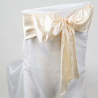 Ivory satin chair sashes for making bows on chairs. Can be used for weddings, birthday parties, events, or just for decorating. These sashes are 6 inches x 106 inches inch and come 10 to a pack.