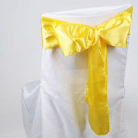 Daffodil satin chair sashes for making bows on chairs. Can be used for weddings, birthday parties, events, or just for decorating. These sashes are 6 inches x 106 inches inch and come 10 to a pack.