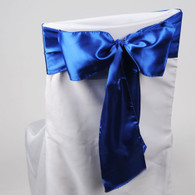 Royal Blue satin chair sashes for making bows on chairs. Can be used for weddings, birthday parties, events, or just for decorating. These sashes are 6 inches x 106 inches inch and come 10 to a pack.