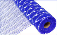 "21"" X 10yd Metallic Cottonball Mesh-Blue/White"