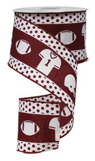 "2.5""X 10YD FOOTBALL GEAR-WHITE/BURGANDY"