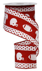 "2.5""X 10YD FOOTBALL GEAR-WHITE/CRIMSON"