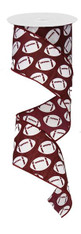 "2.5"" X 10YD DIAGONAL FOOTBALL RIBBON WHITE/BURGUNDY"