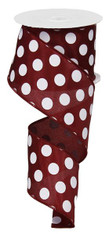 "2.5"" X 10YD MEDIUM POLKA DOTS-MAROON/WHITE"