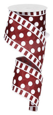 "2.5""X10YD DOTS AND STRIPES ON SATIN-MAROON/WHITE"