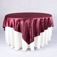 60 x 60 Satin Table Overlays- Burgundy