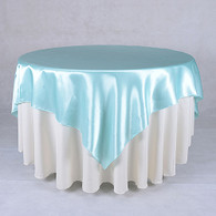 60 x 60 Satin Table Overlays- Light Blue