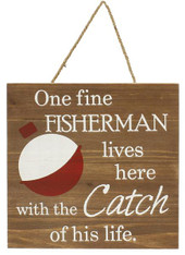 "11""SQ Wood Fine Fisherman - Red/White/Brown"