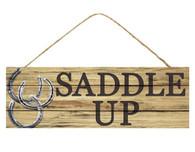 """15""""L X 5""""H Saddle Up Sign - Natural/Black/Silver"""