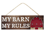 """15""""L X 5""""H My Barn My Rules Sign - Brown/White/Red"""