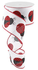 "2.5""X10YD Ladybug On Royal - White/Red/Black"