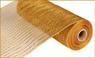"10""X10YD Metallic Mesh - Gold/Brown W/Gold  Foil"