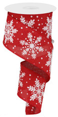 """2.5""""X10YD Glittered Snowflakes On Royal - Red/White/Silver"""