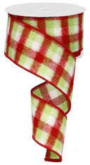 "2.5""X10YD Flannel Mini Check - Red/Lime/White"