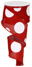 """2.5""""X10YD Giant Multi Dots - Red/White"""