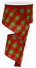 """2.5""""X10YD Fuzzy Flannel Check - Red/Lime Green"""