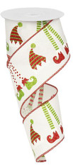 """2.5""""X10YD Elf Hats and Legs/Royal - White/Red/Lime"""