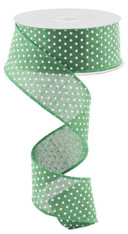 "1.5""X10YD Raised Swiss Dots on Royal - Emerald Green/White"
