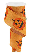 "2.5""X10YD Jack-O-Lantern On Royal - Talisman/Orange/Black"