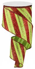 """2.5""""X10YD Diagonal Glitter Stripe/Royal - Lime/Red"""