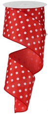"2.5""X10YD Small Polka Dot - Red/White"