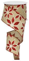 """2.5""""X10YD Glittered Poinsettia - Natural/Red/White"""