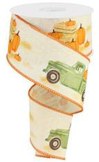 "2.5""X10YD Truck W/Pumpkins On Royal - Cream/Moss/Orange/Brown"