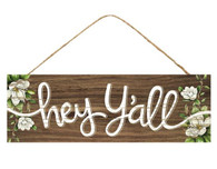 "15""L X 5""H Hey Y'all/Magnolias Sign - Brown/White/Green"