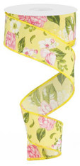 "1.5""X10YD Floral - Rose/Green/Yellow"