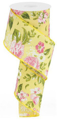 "2.5""X10YD Floral - Rose/Green/Yellow"