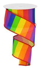 """2.5""""X10YD Horizontal Rainbow on Royal - RD/ORNG/YLL W/GRN/BL/PRPL"""