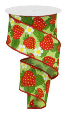 "2.5""X10YD Strawberries on Royal - BRT GRN/Yellow/Red/Green"