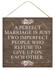 "10""SQ Perfect Marriage Sign - DK Taupe/White"