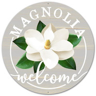 "12"" DIA Metal Magnolia Welcome Sign - Grey/White/Green"
