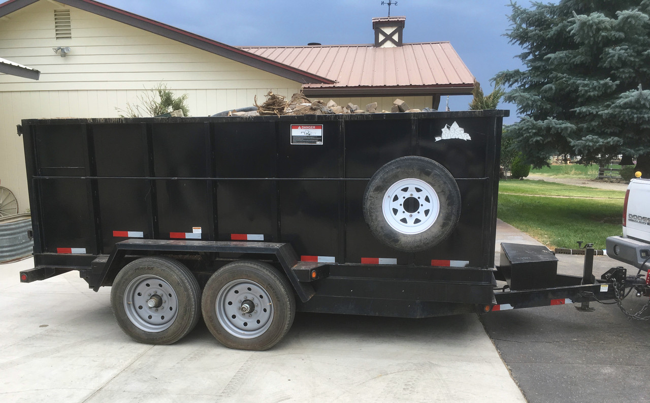 Dump trailer converted from 235/85R16 to Boar's Rancher wheel and 225/70R19.5.