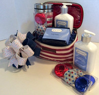 Gifts To Go Custom Gift Basket Red, White and Blue Deluxe Cosmetic Bag Front View