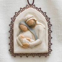 Willow Tree (R) Nativity - Holy Family Metal-edged Ornament - 'A child is born'