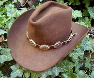 WESTERN HAT BAND BROWN LEATHER w 10 OVAL Scalloped Nickel Conchos, 3 PC Buckle