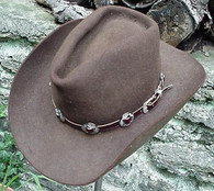 WESTERN HAT BAND BROWN LEATHER w 10 Nickel Conchos, 3 PC Buckle Set  NEW!