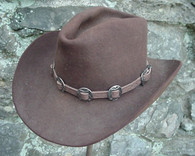 WESTERN HAT BAND BROWN LEATHER w 10 Antiqued Conchos, 3 PC Buckle Set  NEW!