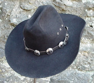 WESTERN HAT BAND BLACK LEATHER w 10 Nickel Conchos, 3 PC Buckle Set  NEW!
