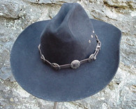 WESTERN HAT BAND BLACK LEATHER w 10 Antiqued Conchos, 3 PC Buckle Set NEW!