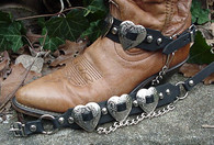 WESTERN BOOTS BOOT CHAINS LADIES BLACK TOPGRAIN LEATHER W 3 SILVER HEART CONCHOS